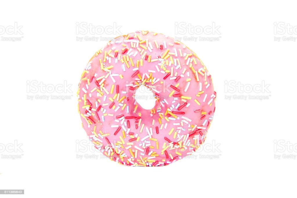 strawberry flavoured pink donut stock photo