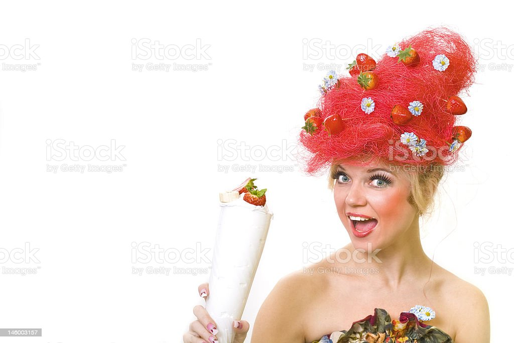 Strawberry girl royalty-free stock photo