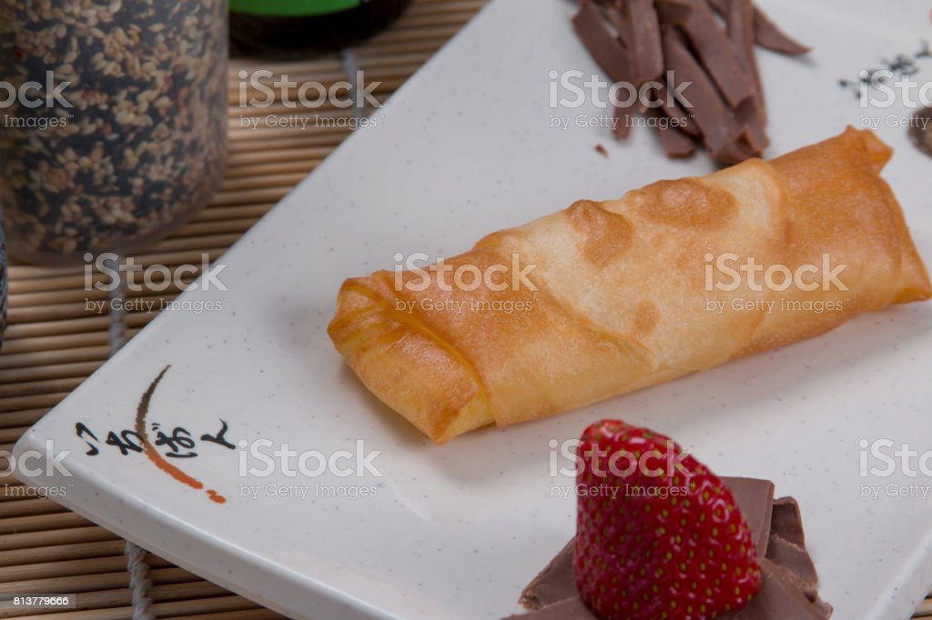 Strawberry harumaki food stock photo