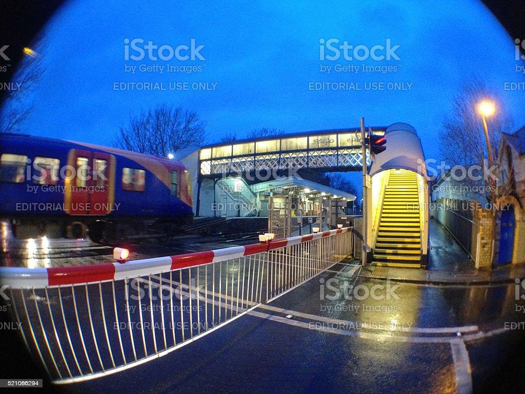 Strawberry Hill train station, Twickenham, England at dusk stock photo