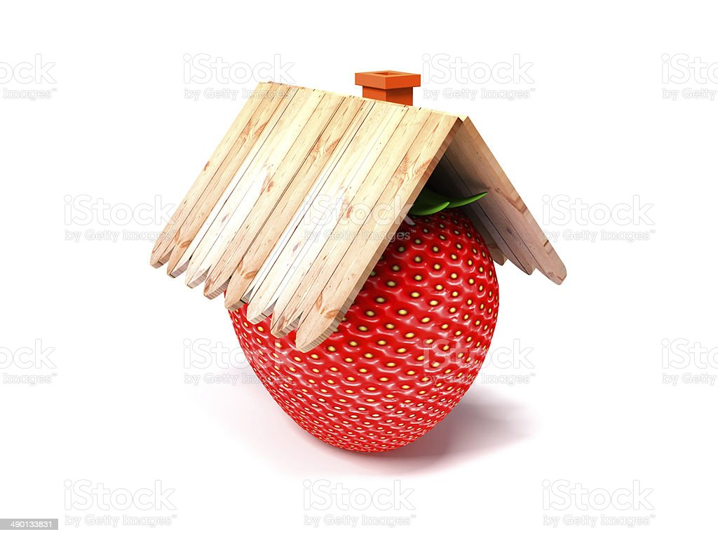 Strawberry house roof royalty-free stock photo