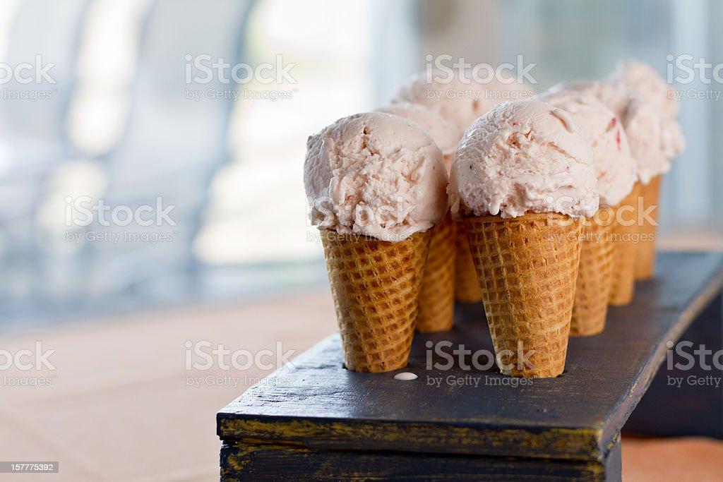 Strawberry Ice Cream Cones stock photo
