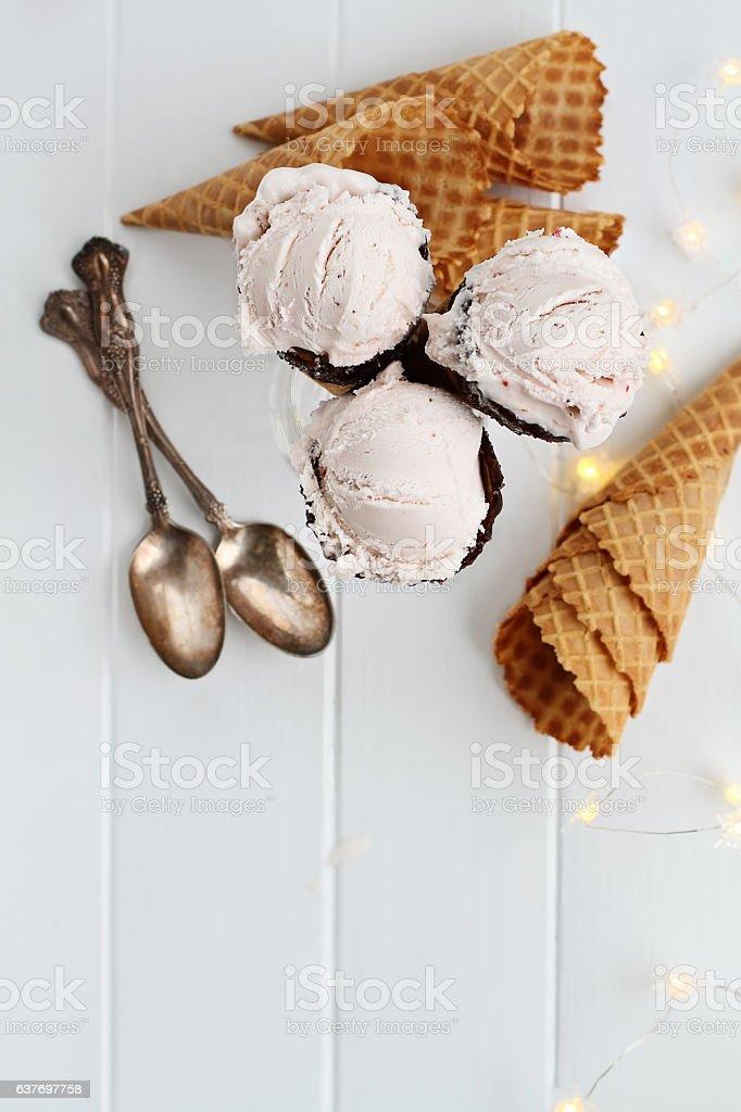 Strawberry Ice Cream Cones Shot From Above stock photo