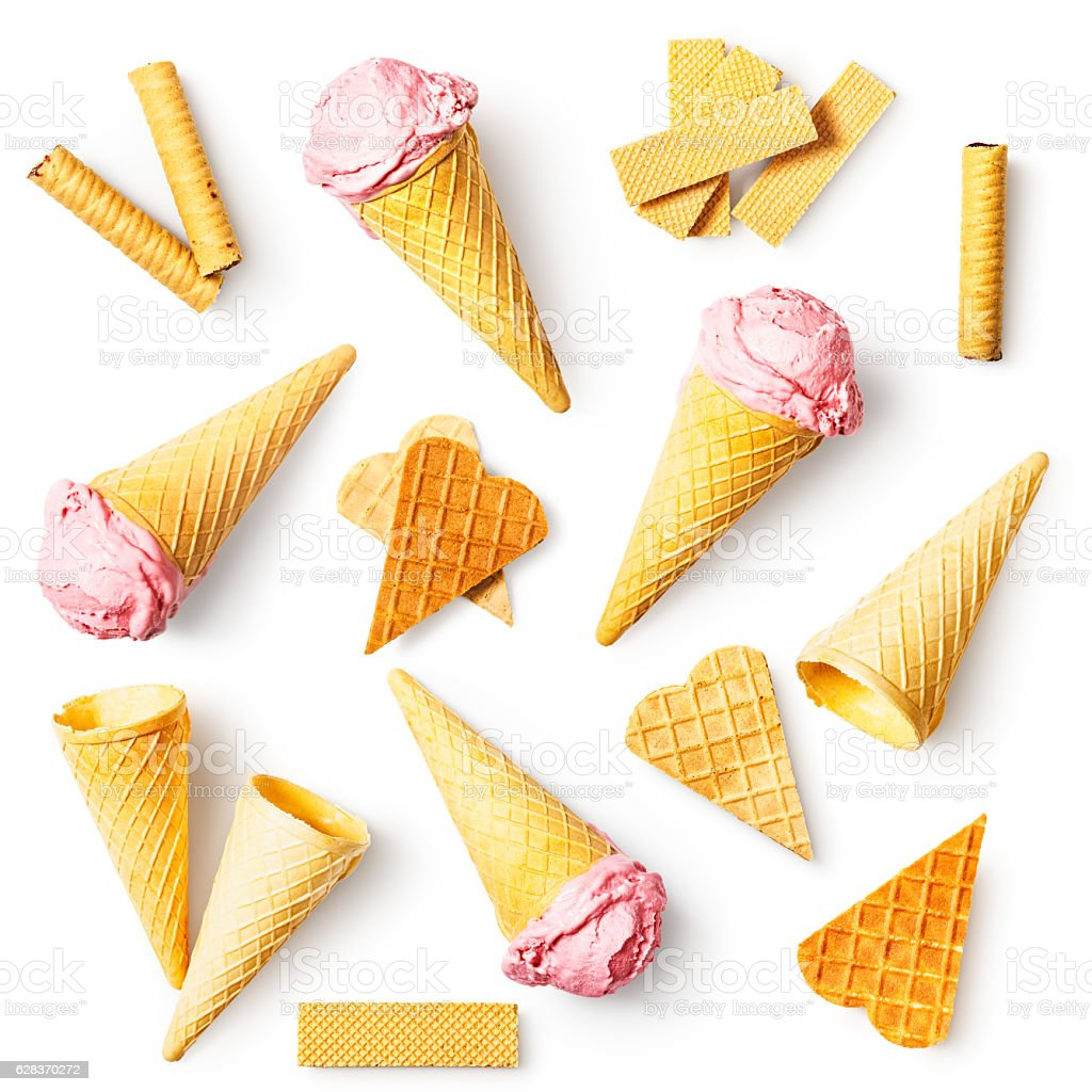 Strawberry ice cream set stock photo