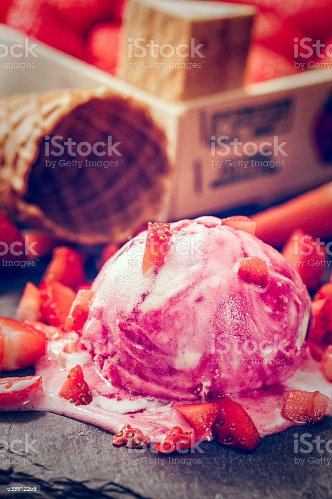 Strawberry Ice Cream with Fresh Strawberries stock photo