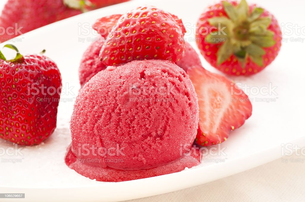 Strawberry Icecreme with Strawberries royalty-free stock photo