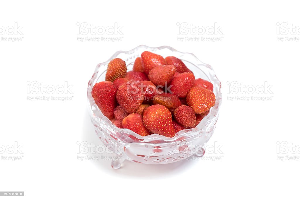 Strawberry in a crystal vase stock photo