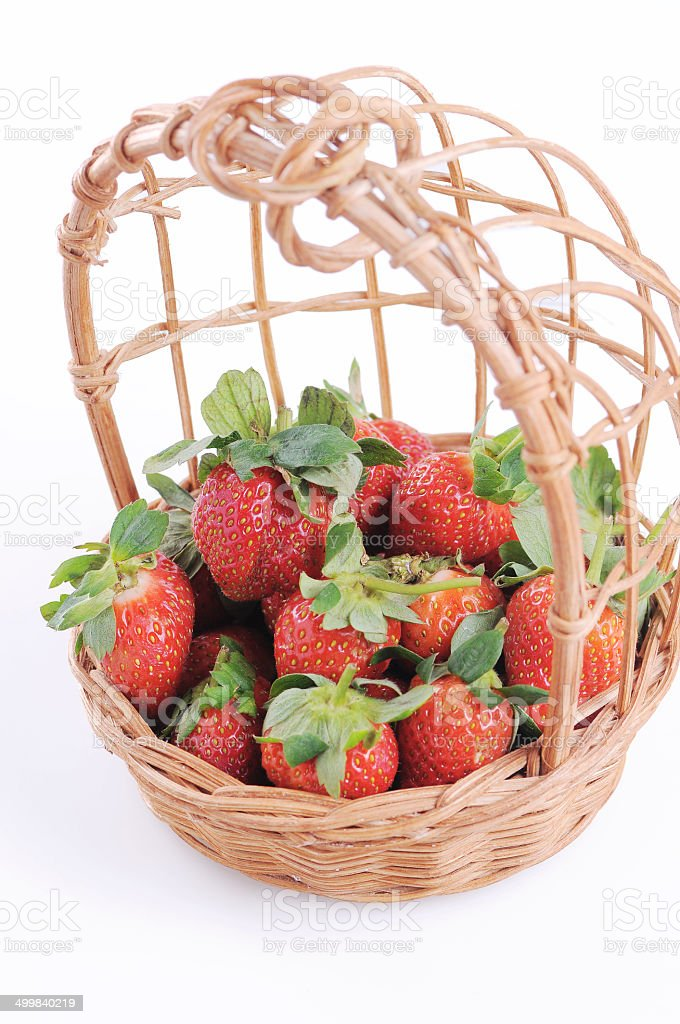 strawberry in basket stock photo