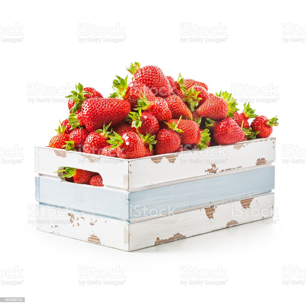 Strawberry in crate stock photo