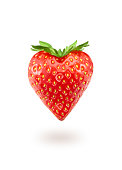 A strawberry in the shape of a heart
