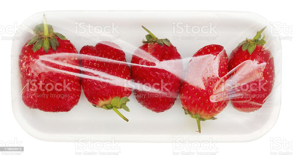 strawberry in vacuum packing royalty-free stock photo