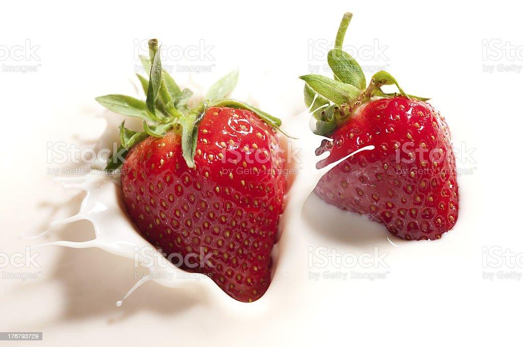 strawberry in yogurt royalty-free stock photo