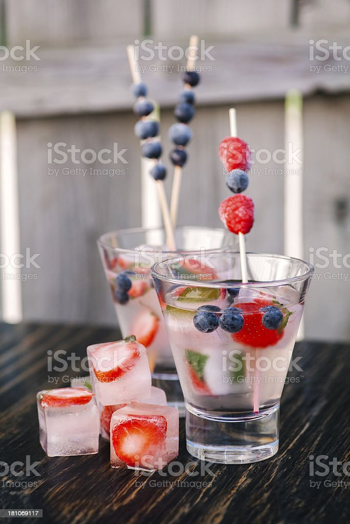 Strawberry infused drink stock photo