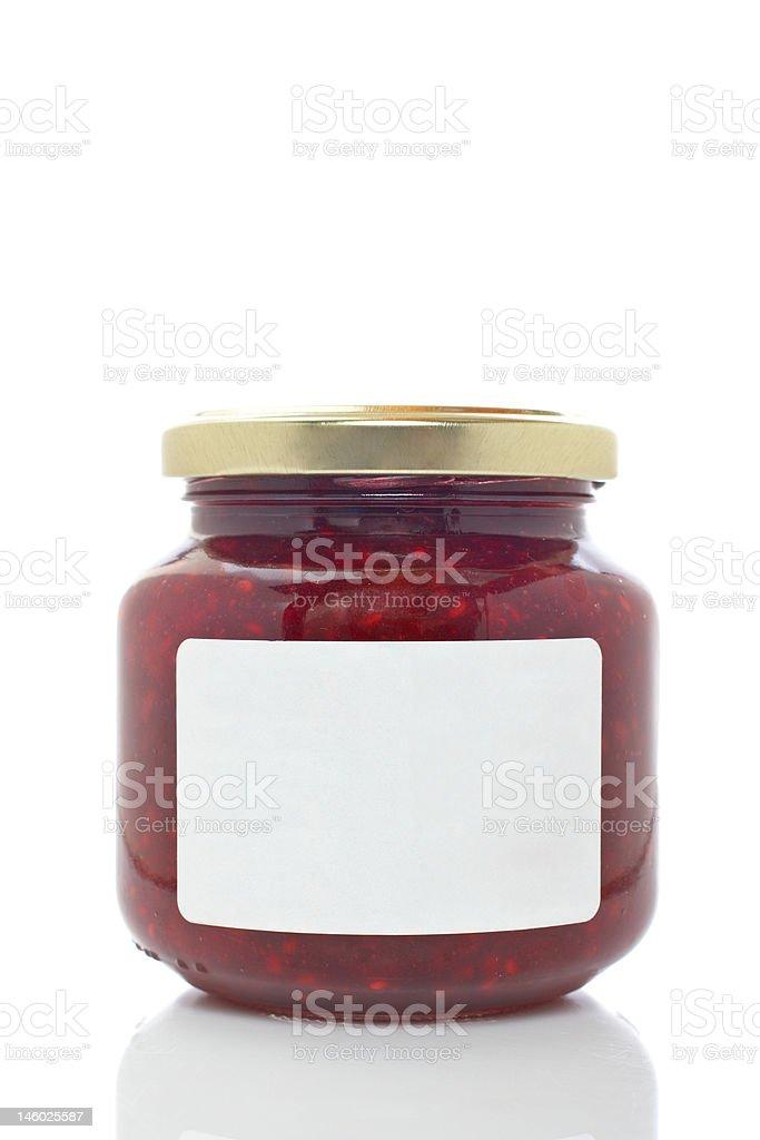 Strawberry jam glass jar stock photo