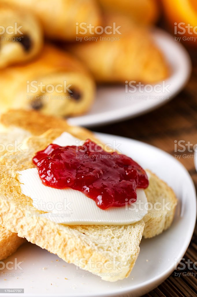 Strawberry Jam on Toast royalty-free stock photo