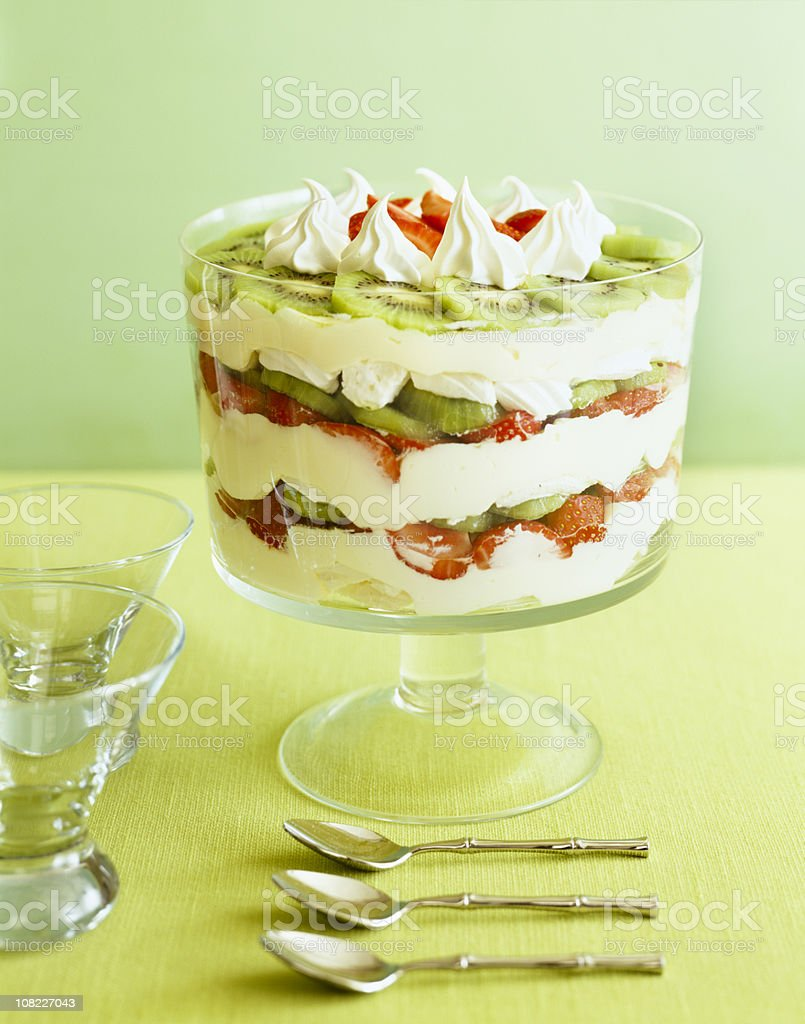 Strawberry Kiwi Parfait with Spoons and Bowls stock photo