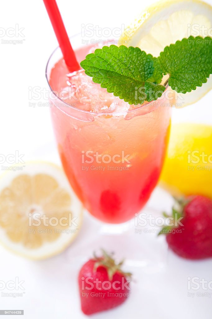 Strawberry Lemonade Top View royalty-free stock photo