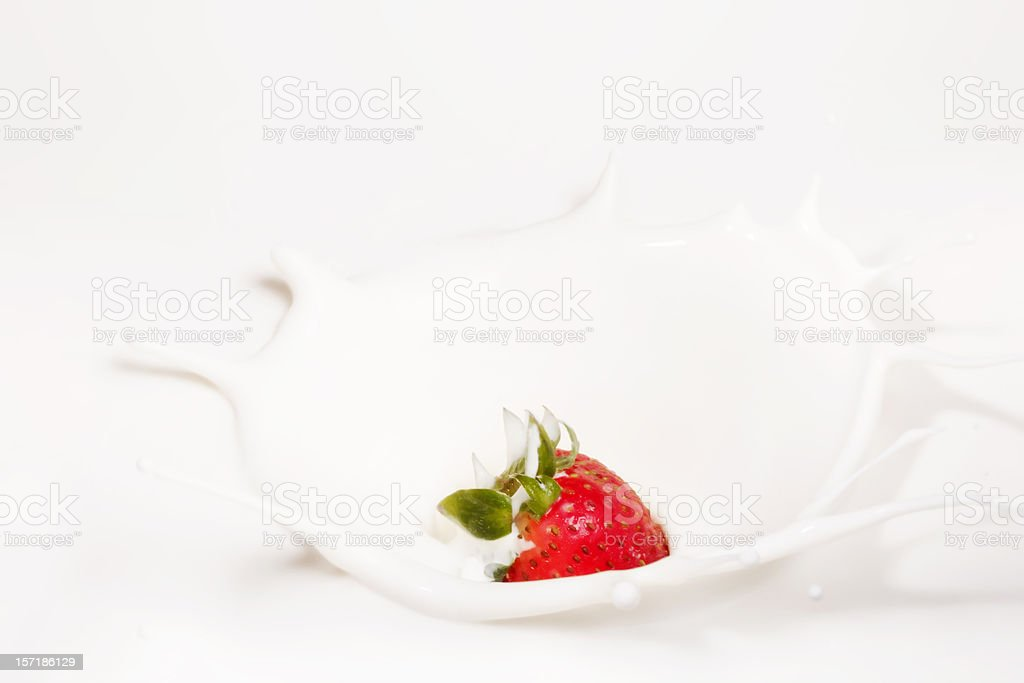 Strawberry Making A Splash royalty-free stock photo