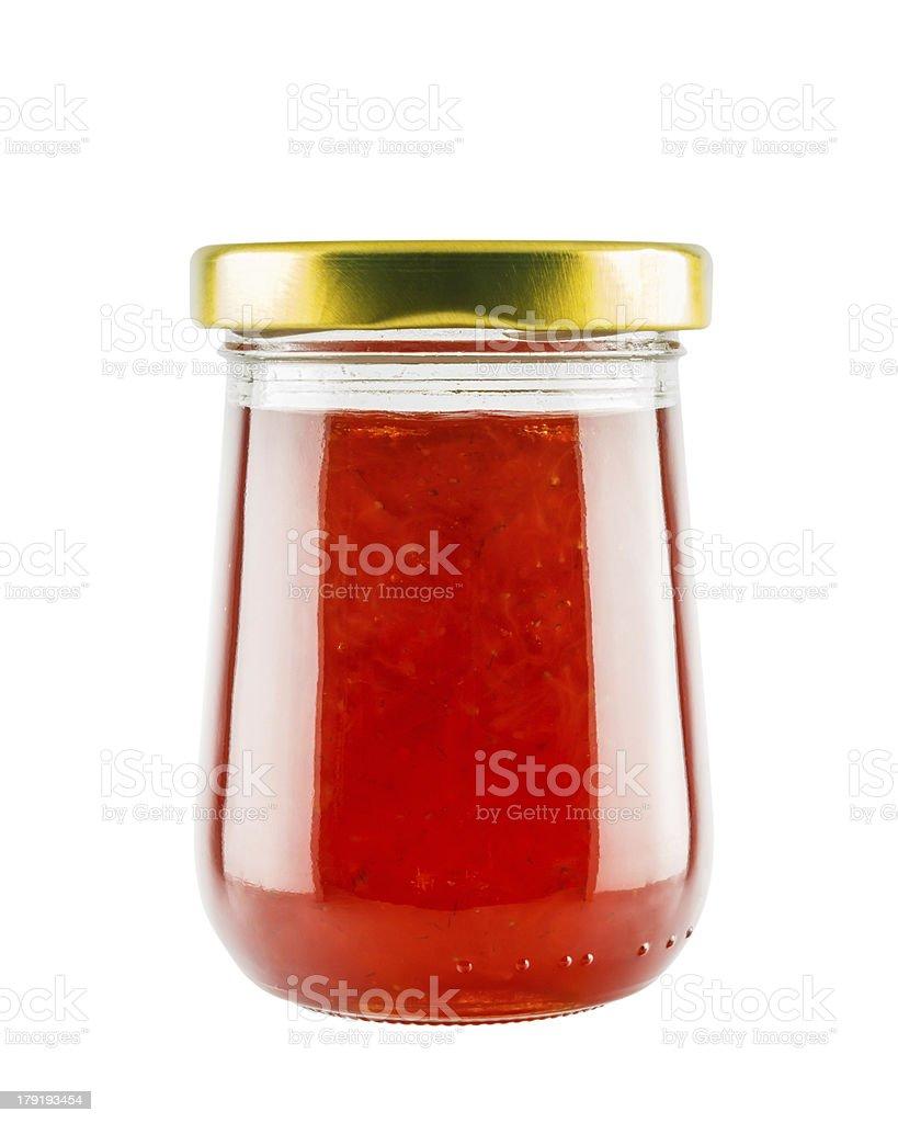 Strawberry marmalade jam in glass jar stock photo