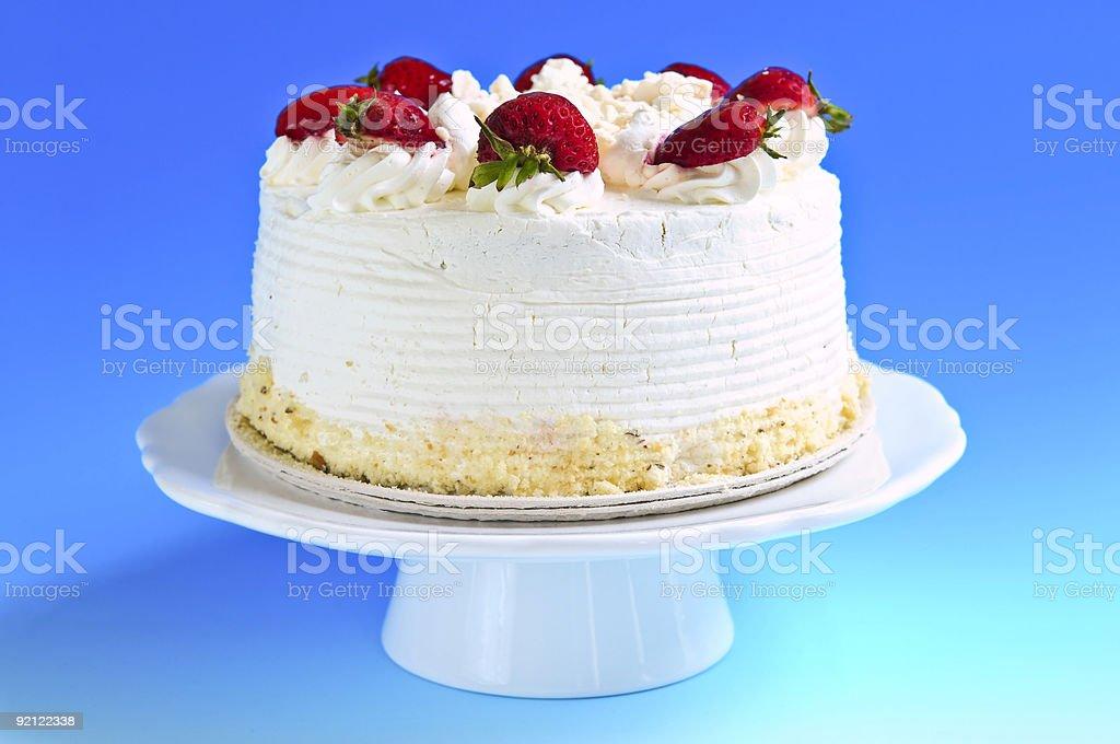Strawberry meringue cake stock photo