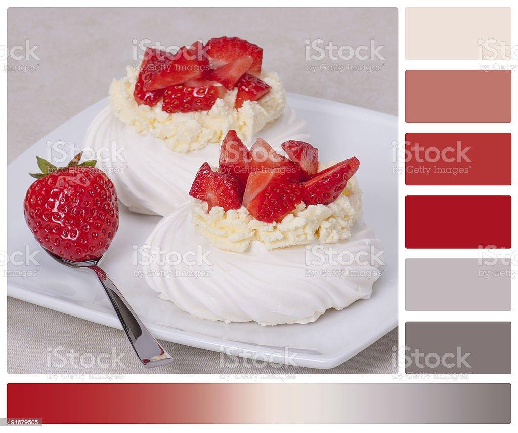 Strawberry Meringues Dessert Pavlova stock photo