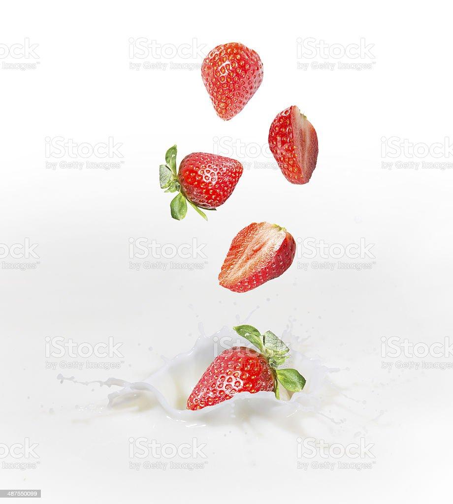 Strawberry milk or yogurt splash. stock photo