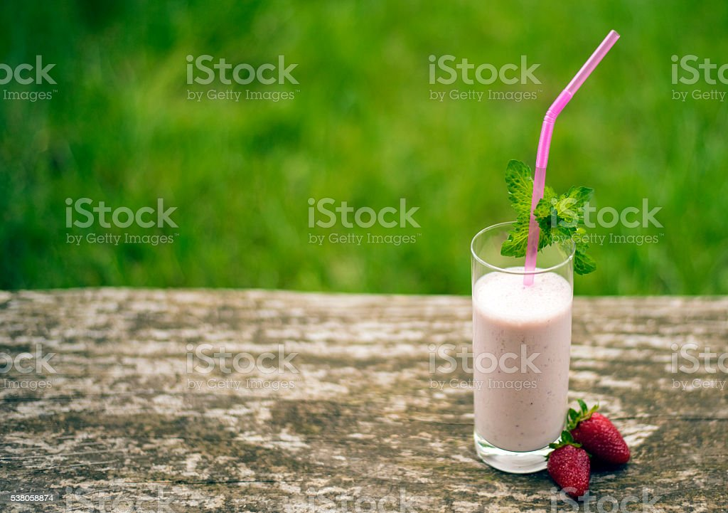 Strawberry milkshake with mint. stock photo