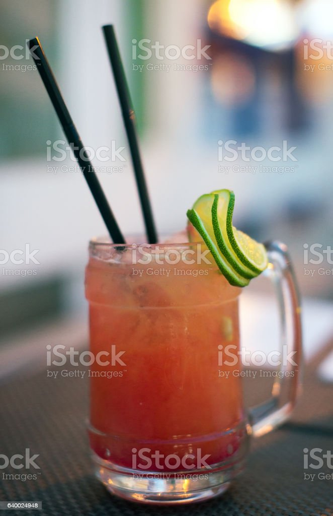 Strawberry mojito cocktail with lime and mint. stock photo