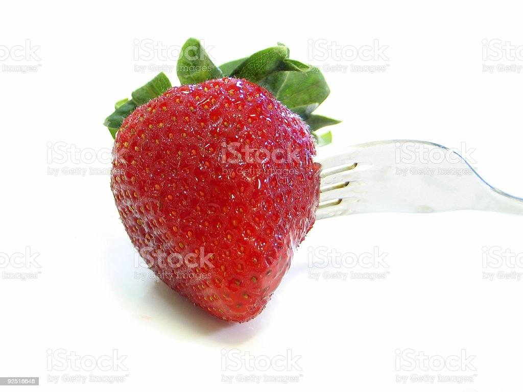 Strawberry On A Fork royalty-free stock photo