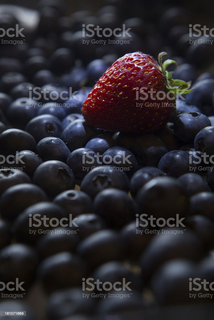 Strawberry on Blueberries royalty-free stock photo