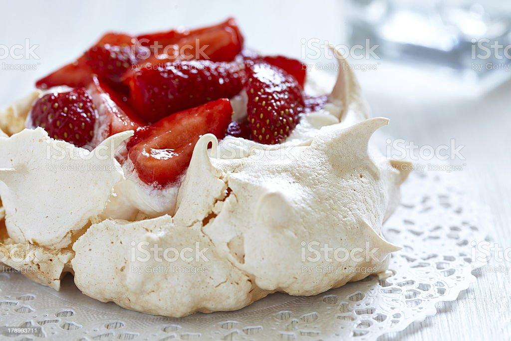 Strawberry pavlova cake stock photo