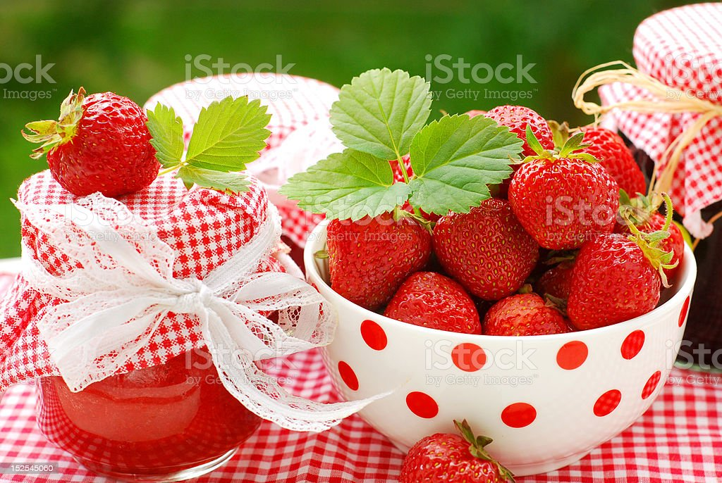 strawberry  preserves and bowl of fresh fruits royalty-free stock photo