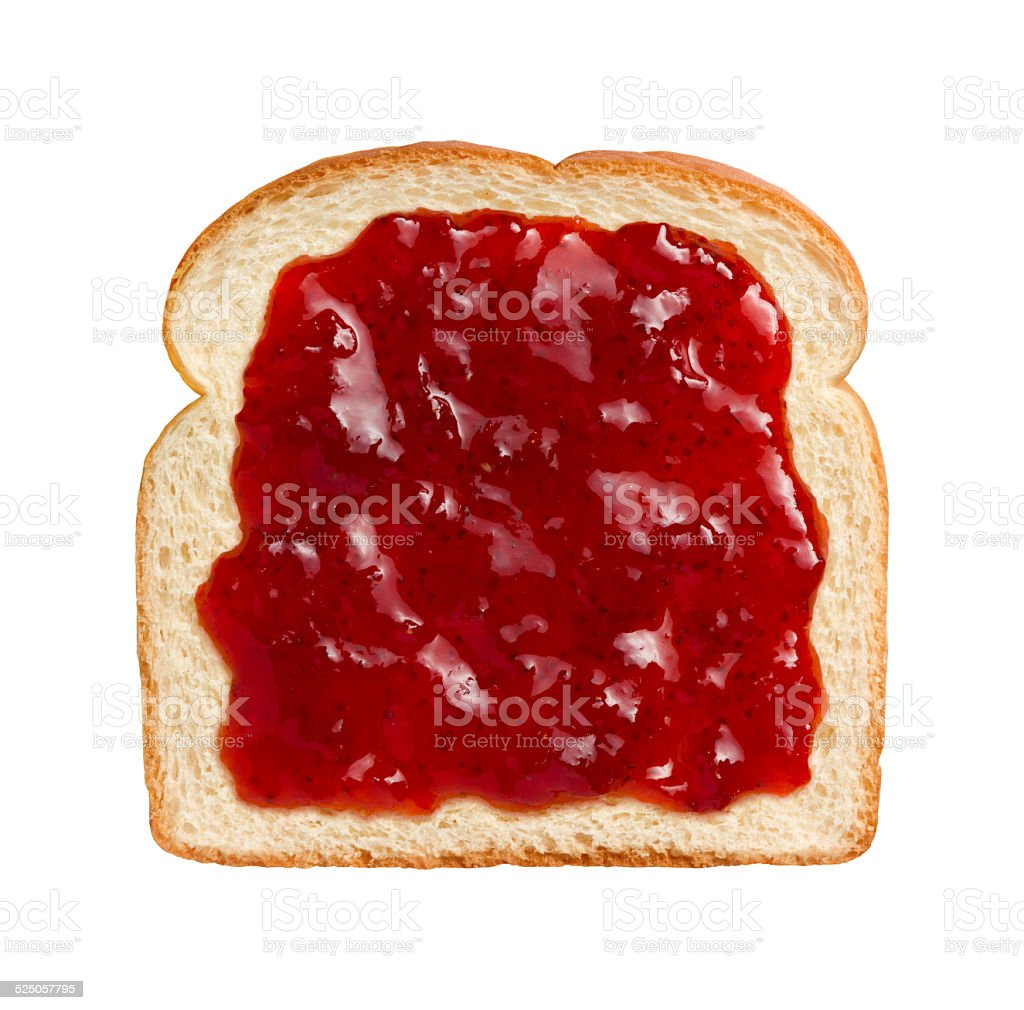 Strawberry Preserves on Bread stock photo