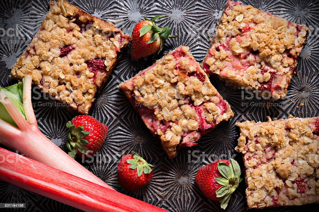 Strawberry Rhubarb  Crumb Bars Seen From Above stock photo