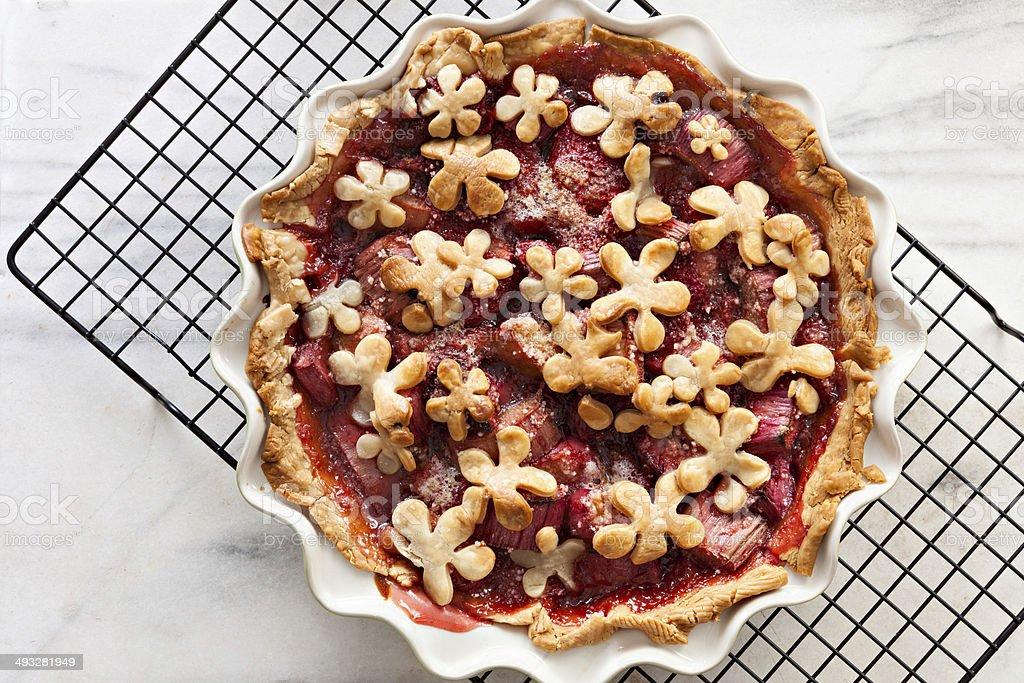 Strawberry Rhubarb Pie stock photo