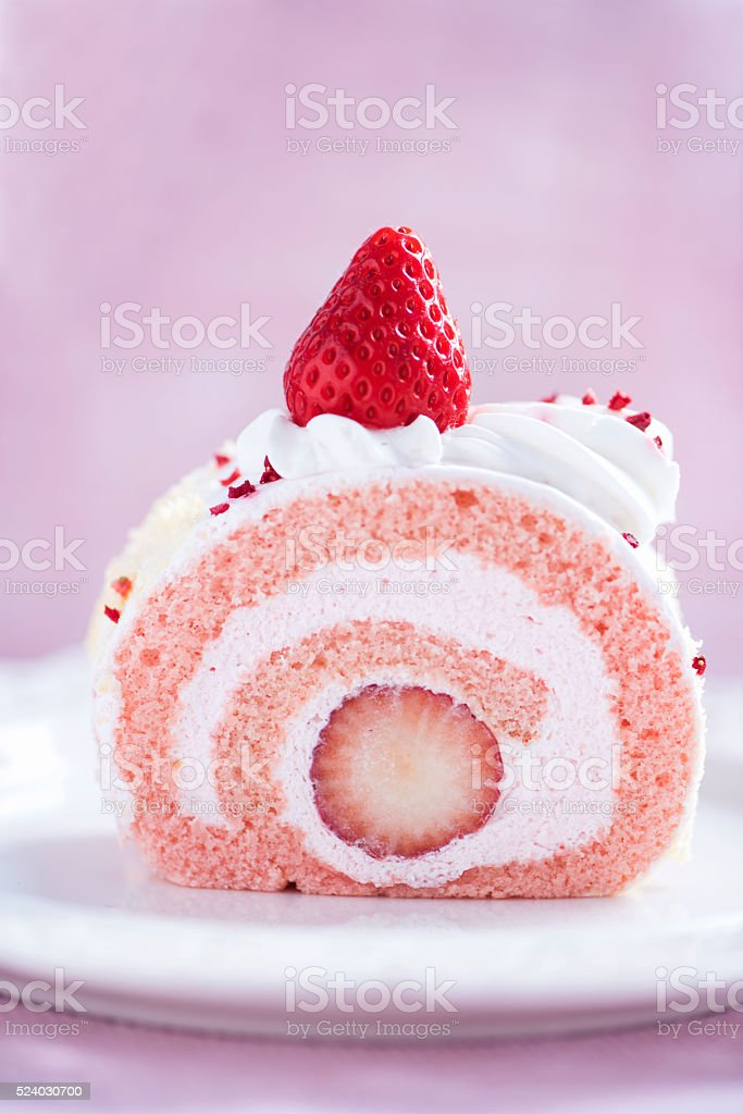 Strawberry Roll Cake stock photo