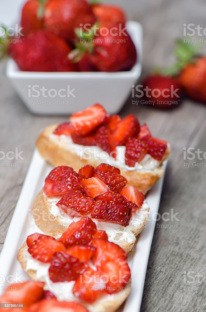 Strawberry sandwiches with cream cheese stock photo