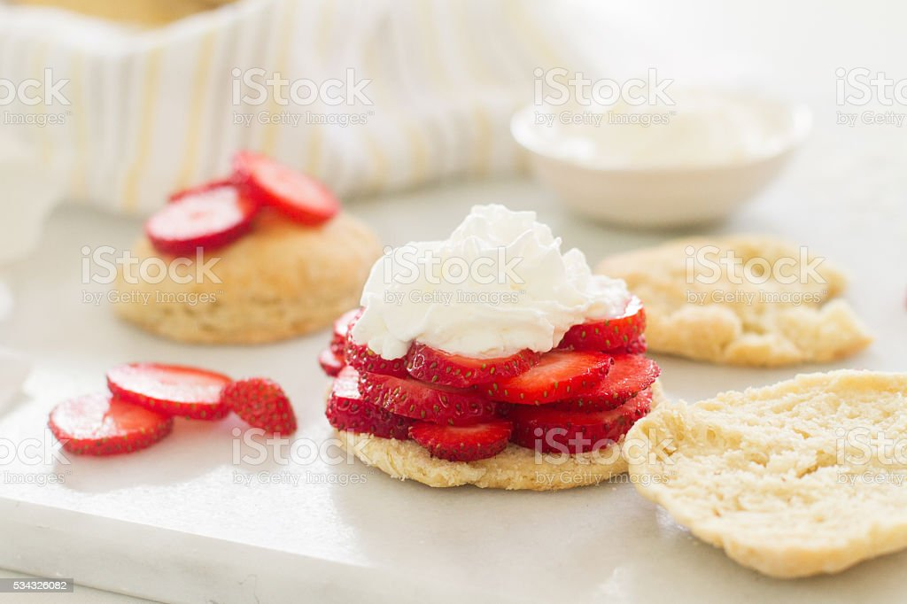 strawberry shortcake - close up - horizontal stock photo