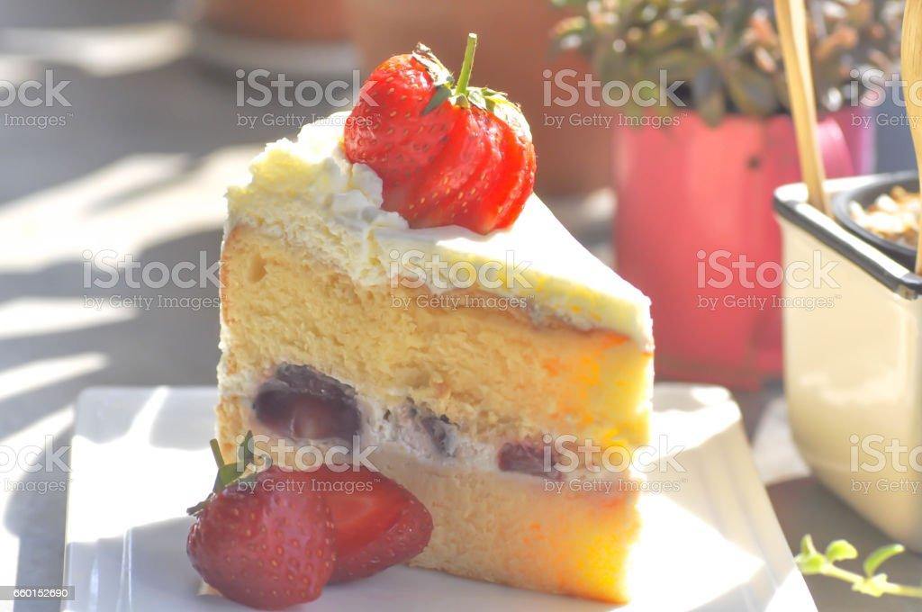strawberry shortcake or strawberry cheesecake stock photo