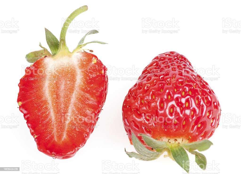 strawberry sliced in two parts stock photo