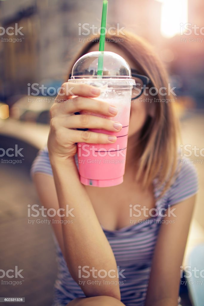Strawberry smoothie and whipped cream stock photo