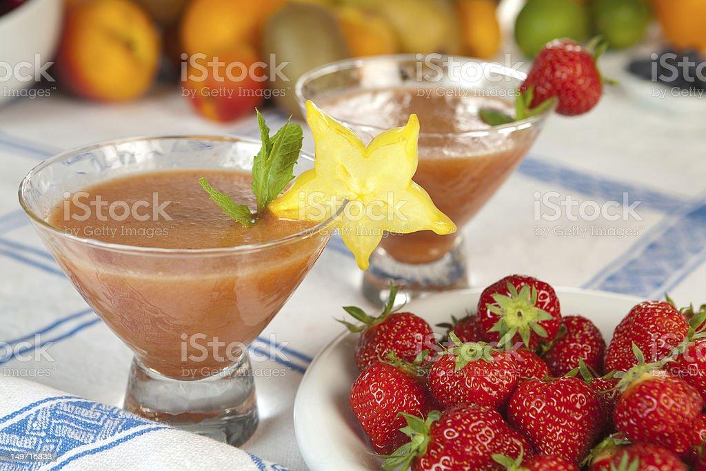 Strawberry smoothie duo royalty-free stock photo