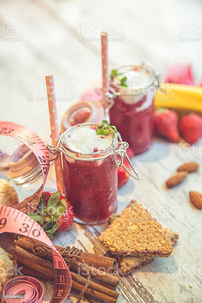 Strawberry Smoothie made with fresh Ingredients stock photo