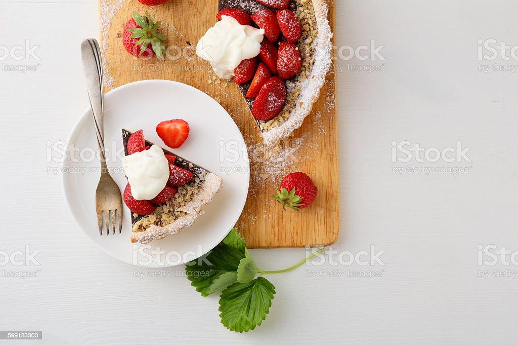 Strawberry summer tart with cream stock photo