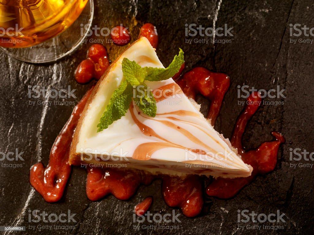 Strawberry Swirl Cheesecake stock photo