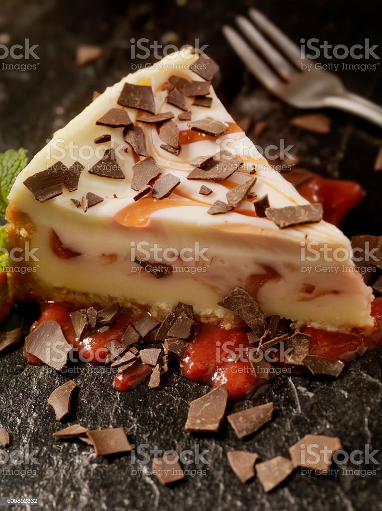 Strawberry Swirl Cheesecake with Chocolate Flakes stock photo