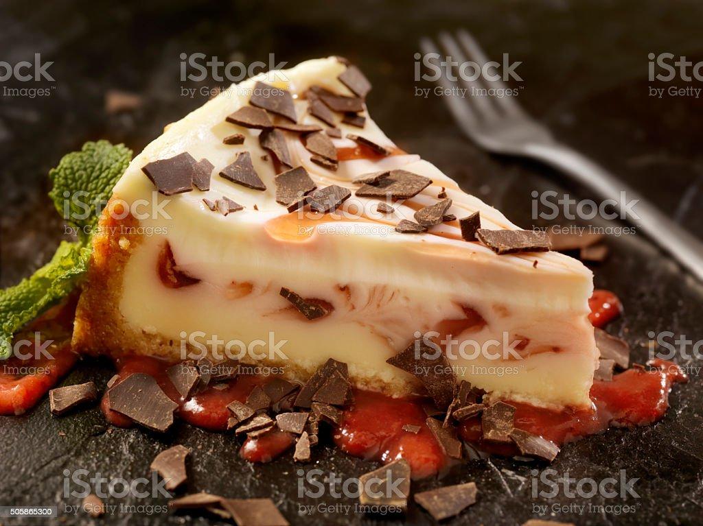 Strawberry Swirl Cheesecake with Chocolate Flakes stock photo