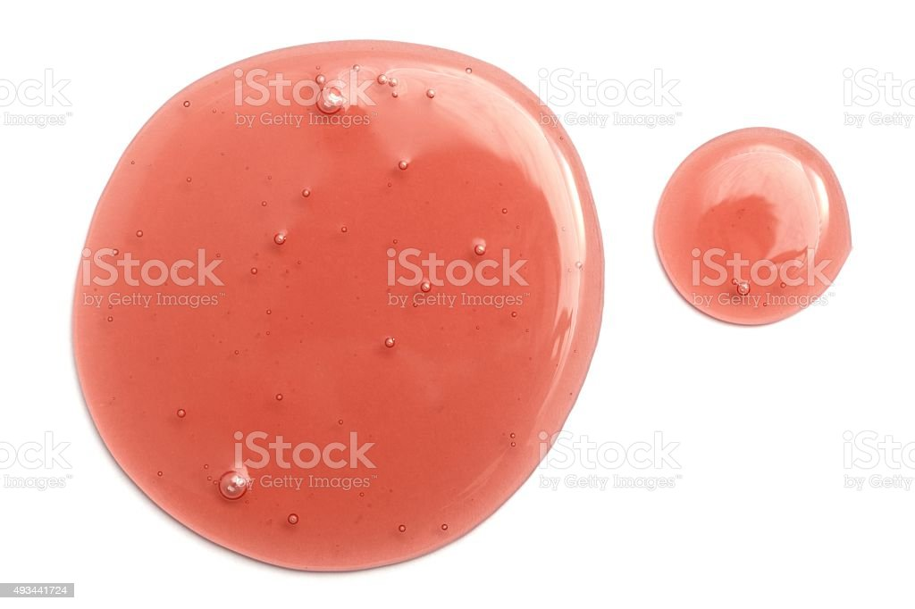 Strawberry syrup drops stock photo