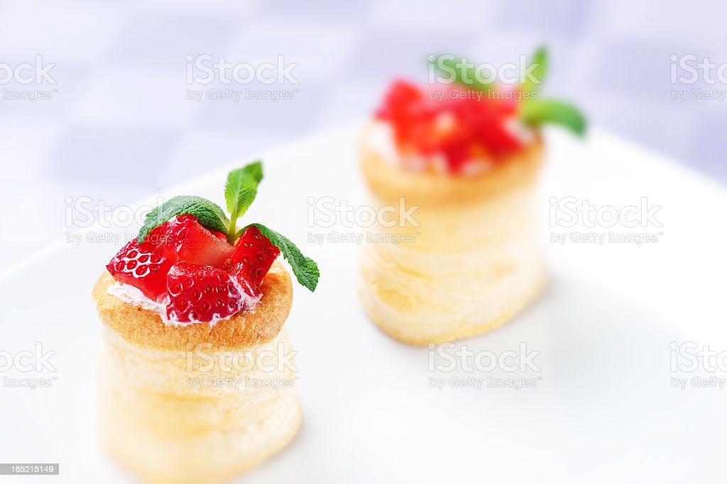 Strawberry Tart with Fresh Cream in Puff Pastry royalty-free stock photo