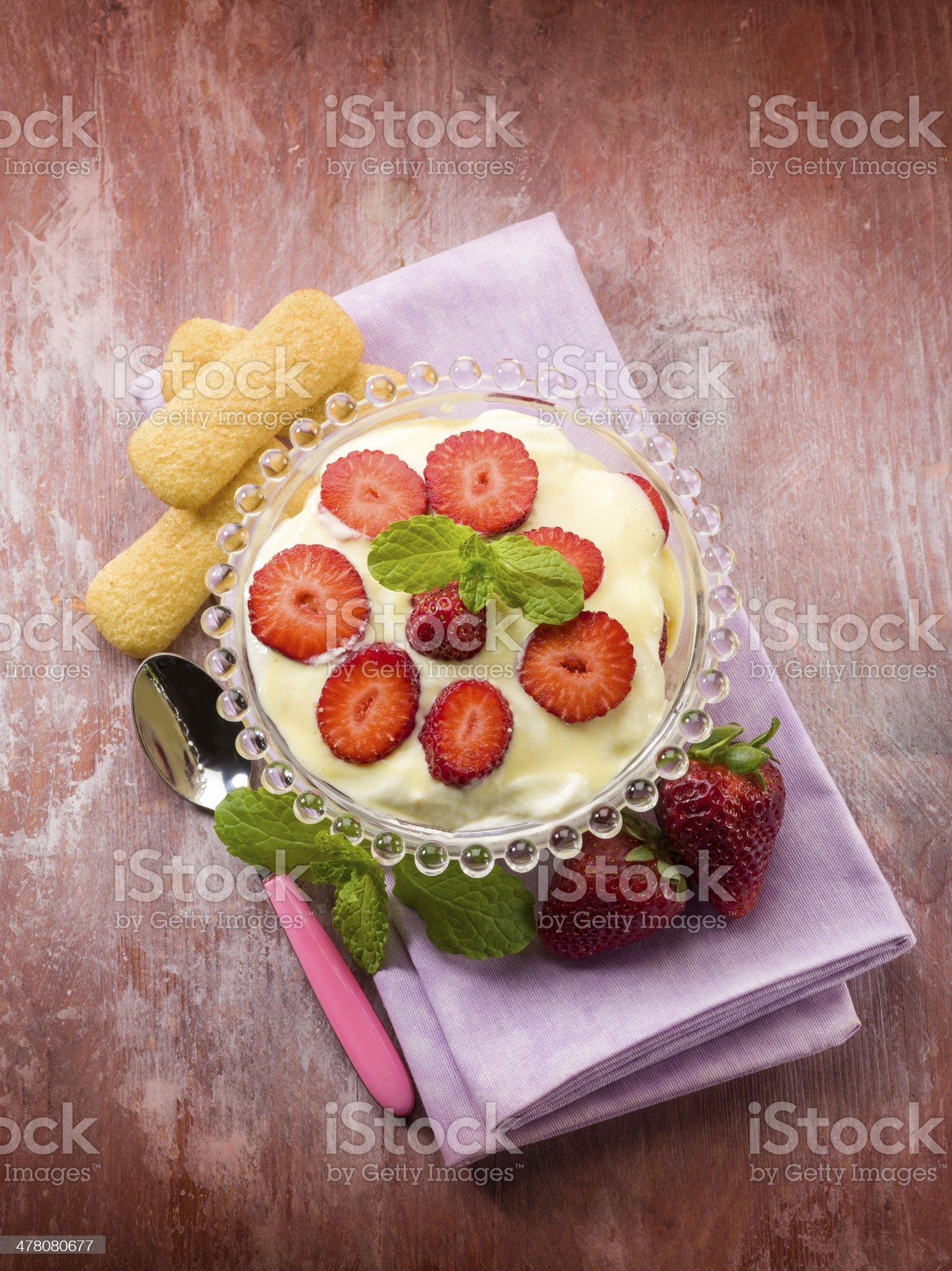 strawberry tiramisu dessert royalty-free stock photo